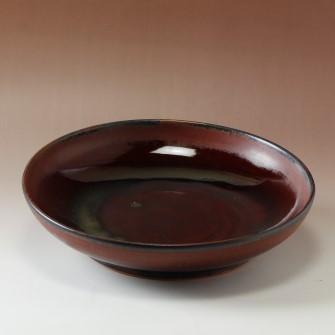 萩焼(伝統的工芸品)特大鉢鉄赤釉丸