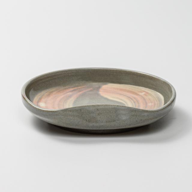 萩焼(伝統的工芸品)銘々皿刷毛青豆形一辺