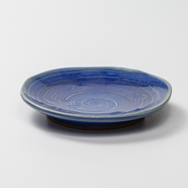 萩焼(伝統的工芸品)銘々皿透青釉刷毛目五岳桜紋