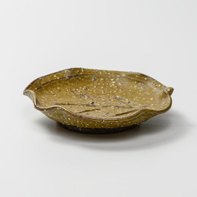 萩焼(伝統的工芸品)銘々皿緑釉荒木の葉