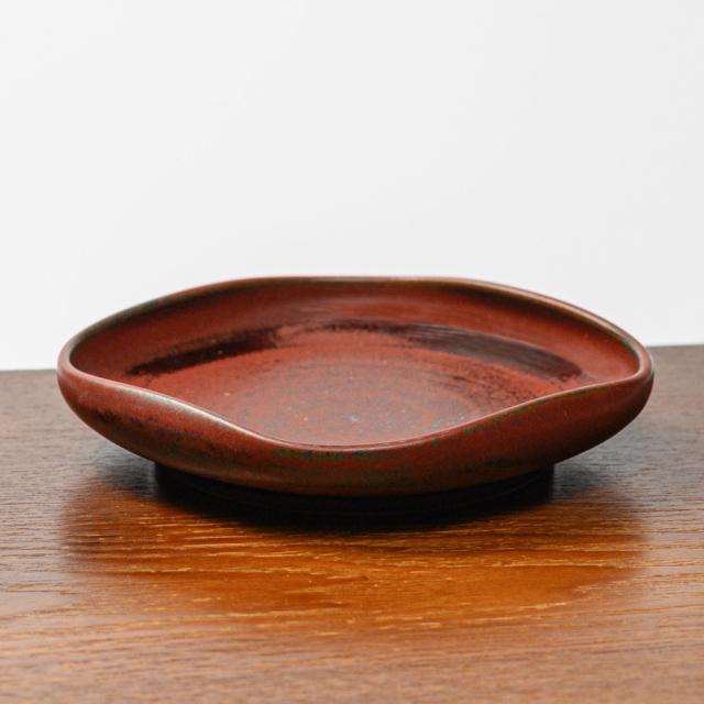 萩焼(伝統的工芸品)銘々皿鉄赤釉四方