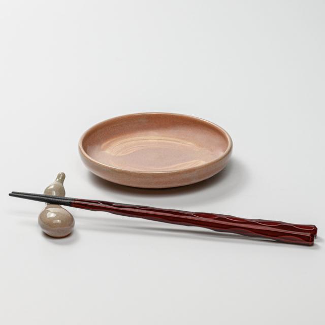 萩焼(伝統的工芸品)小皿刷毛姫丸