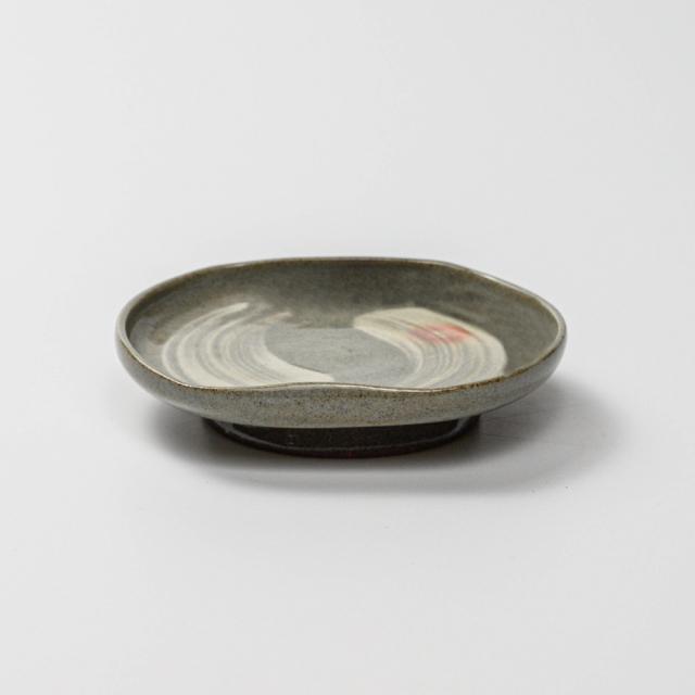 萩焼(伝統的工芸品)小皿刷毛青豆形二辺