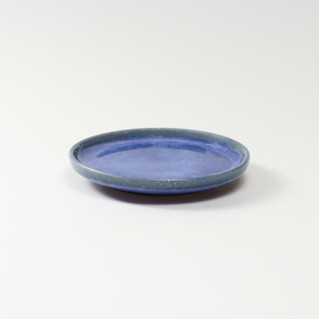 萩焼(伝統的工芸品)小皿透青釉丸
