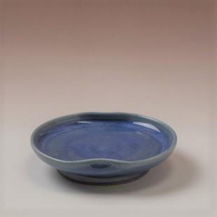 萩焼(伝統的工芸品)小皿透青釉豆形二辺