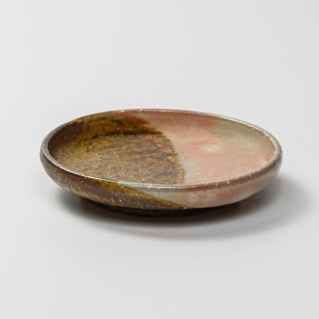 萩焼(伝統的工芸品)小皿掛分け(鉄釉&御本手)丸