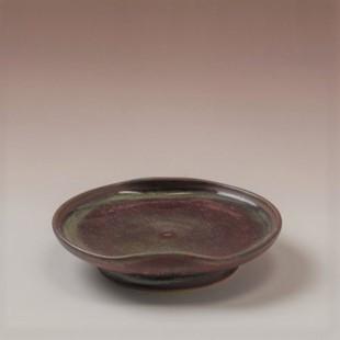 萩焼(伝統的工芸品)小皿鉄赤釉豆形二辺