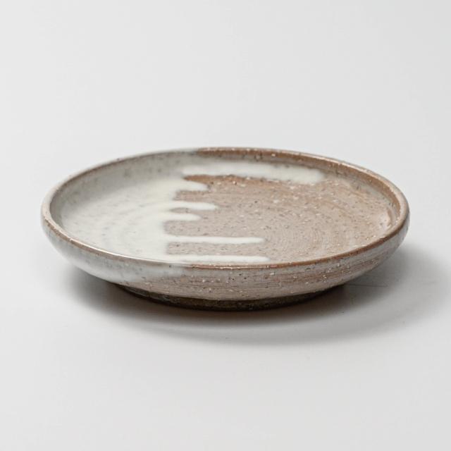 萩焼(伝統的工芸品)小皿白萩掛分け丸