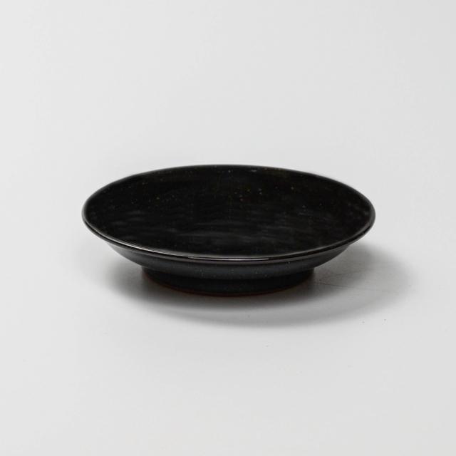 萩焼(伝統的工芸品)小皿銀黒星釉丸