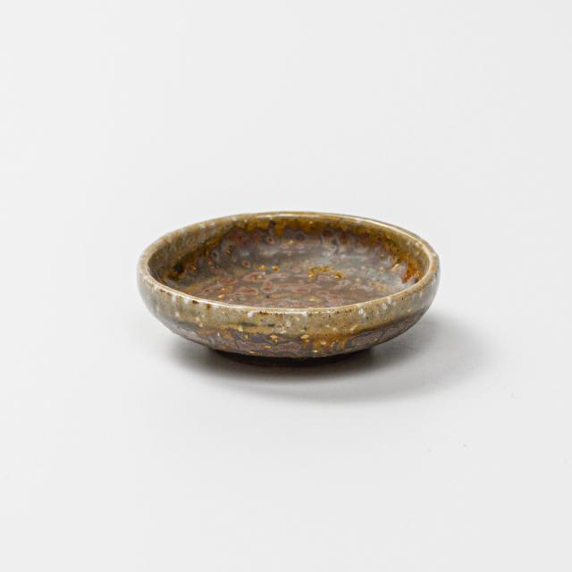 萩焼(伝統的工芸品)豆皿鉄釉丸