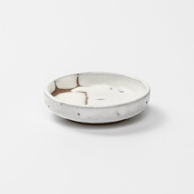 萩焼(伝統的工芸品)豆皿鬼白松丸