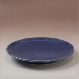 萩焼(伝統的工芸品)平皿中藍釉丸