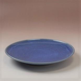 萩焼(伝統的工芸品)平皿中透青釉丸