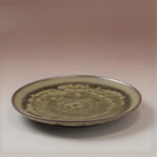 萩焼(伝統的工芸品)平皿中緑釉丸