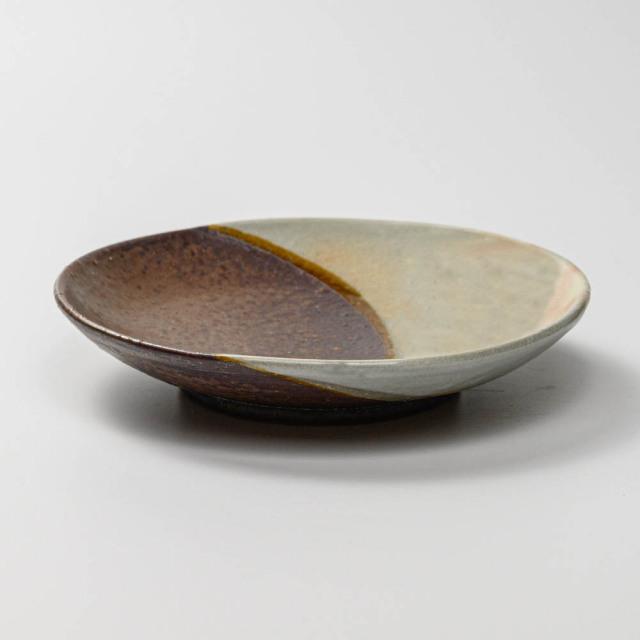 萩焼(伝統的工芸品)平皿中掛分け(御本手&鉄釉)丸