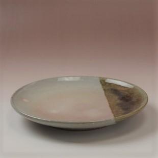 萩焼(伝統的工芸品)平皿中掛分け(化粧&飴釉)丸