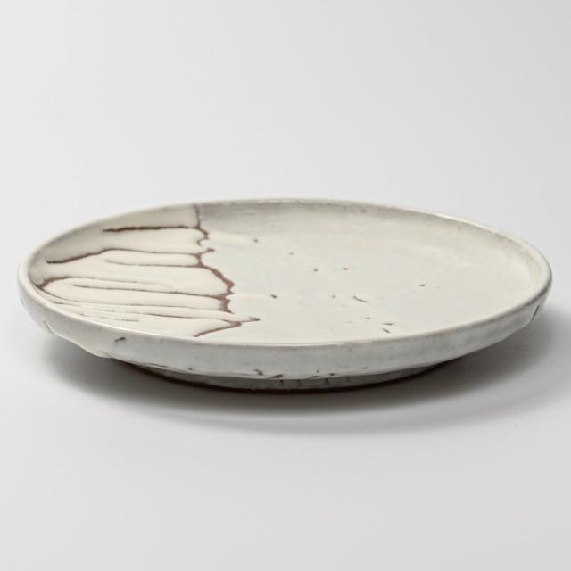 萩焼(伝統的工芸品)平皿中鬼白松丸縁有