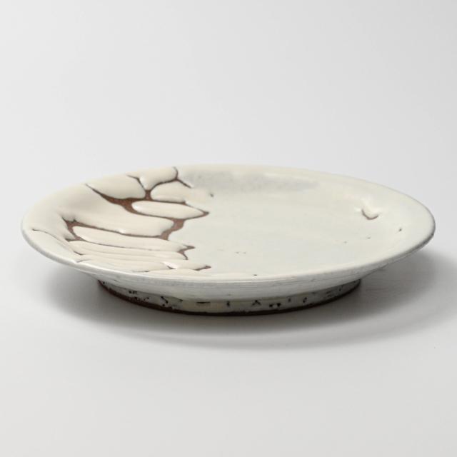 萩焼(伝統的工芸品)平皿中鬼白松丸