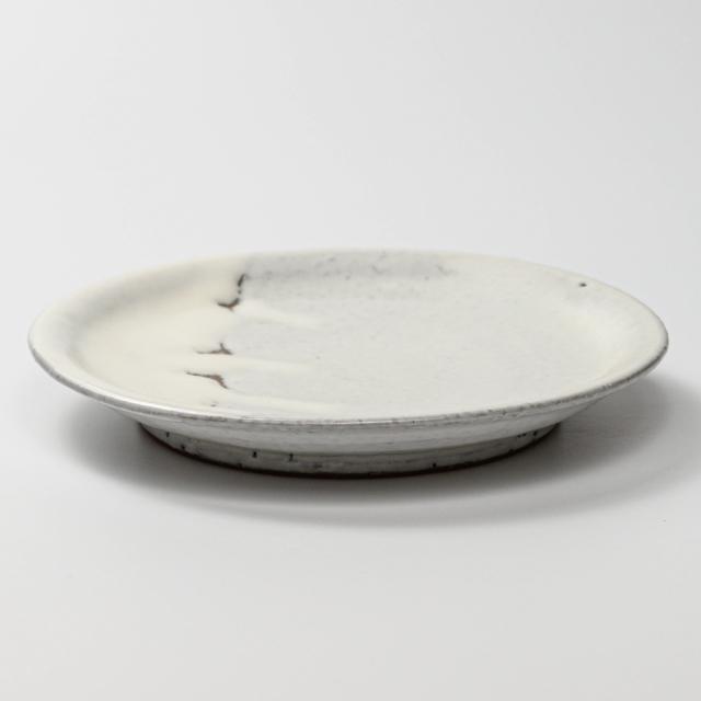 萩焼(伝統的工芸品)平皿中鬼白竹丸