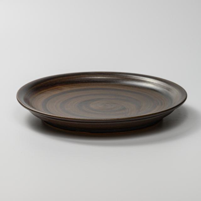 萩焼(伝統的工芸品)平皿中黒釉刷毛目丸