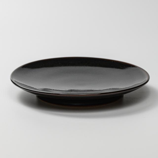 萩焼(伝統的工芸品)平皿中銀黒星釉丸