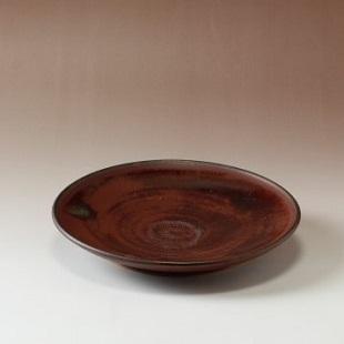 萩焼(伝統的工芸品)平皿小鉄赤釉丸