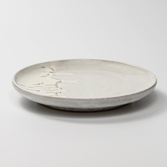萩焼(伝統的工芸品)平皿中鬼白竹丸縁有