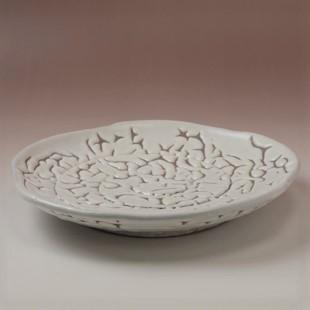 萩焼(伝統的工芸品)平皿大鬼白松五岳