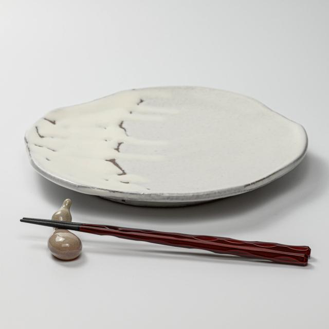 萩焼(伝統的工芸品)平皿大鬼白竹五岳