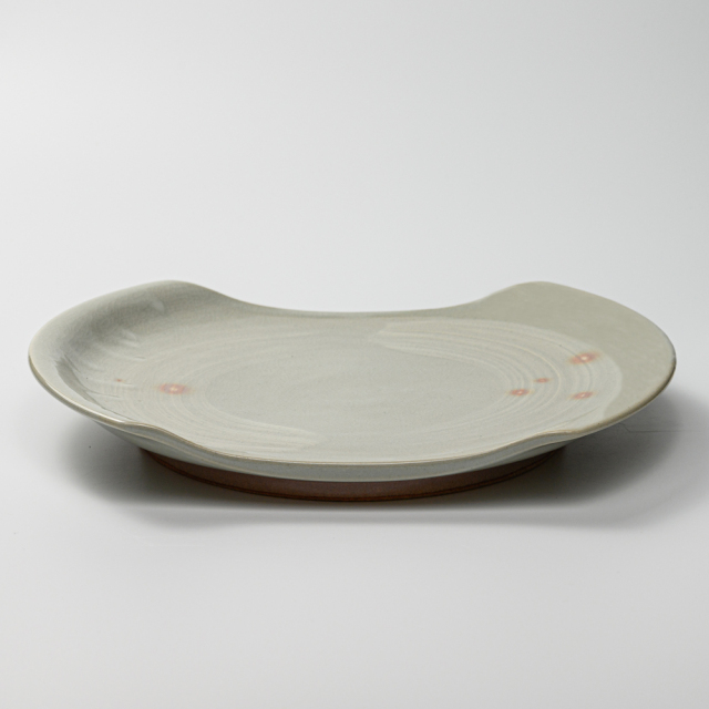 萩焼(伝統的工芸品)大皿刷毛姫切落し