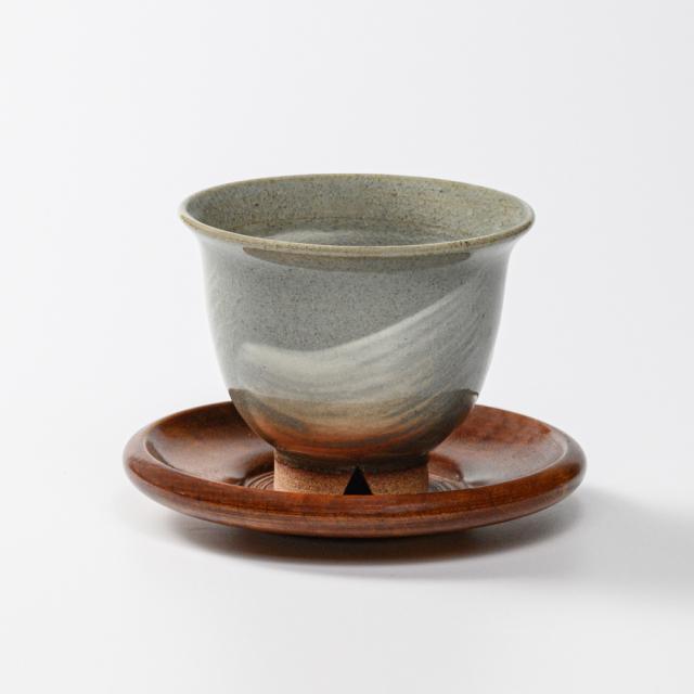 萩焼(伝統的工芸品)汲出し湯呑中刷毛青朝顔