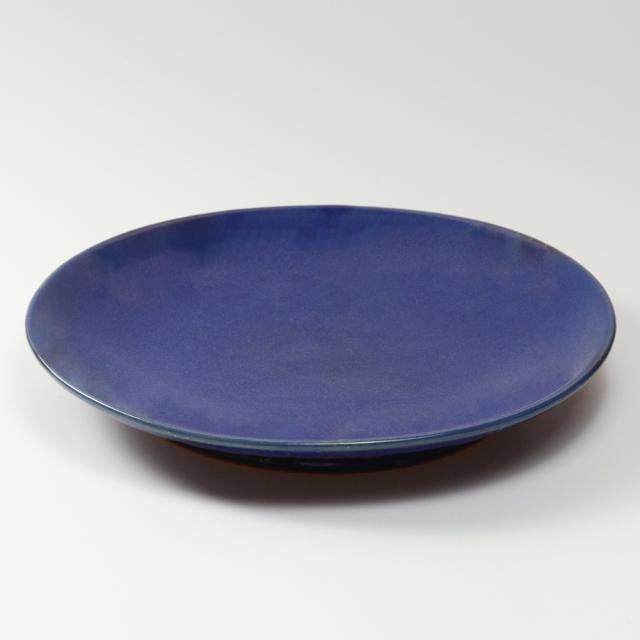 萩焼(伝統的工芸品)特大皿藍釉丸