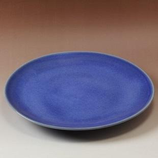 萩焼(伝統的工芸品)特大皿透青釉丸