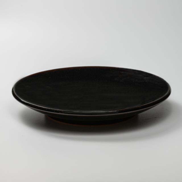 萩焼(伝統的工芸品)特大皿銀黒星釉丸