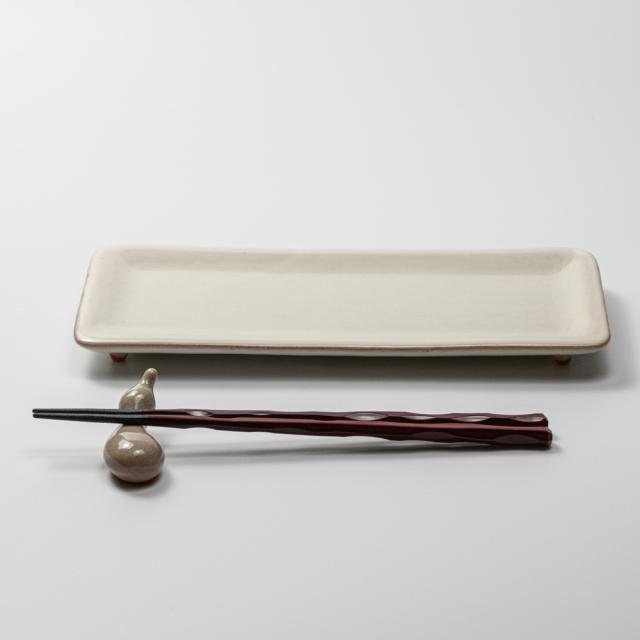萩焼(伝統的工芸品)タタラ平皿白姫四方11×24