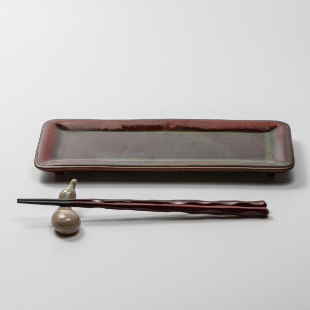 萩焼(伝統的工芸品)タタラ平皿鉄赤釉四方11×24