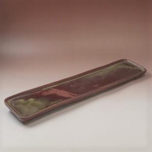 萩焼(伝統的工芸品)タタラ長皿鉄赤釉四方11×53