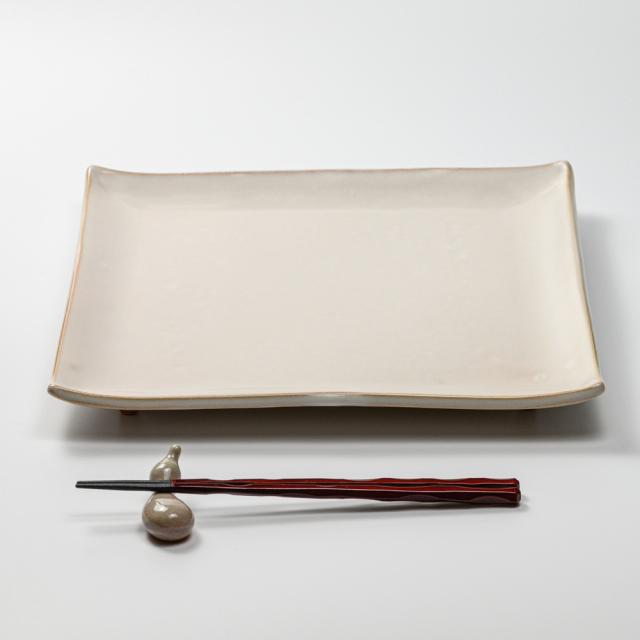 萩焼(伝統的工芸品)タタラ大皿白姫四方30×30