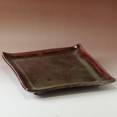萩焼(伝統的工芸品)タタラ大皿鉄赤釉四方