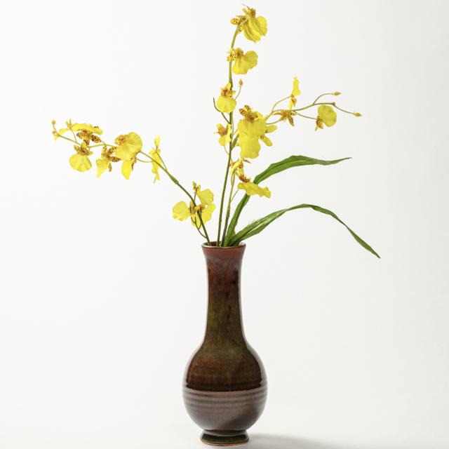 萩焼(伝統的工芸品)花入細手鉄赤釉曽呂利