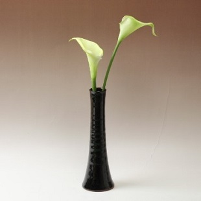 萩焼(伝統的工芸品)花入細手銀黒星釉円錐形