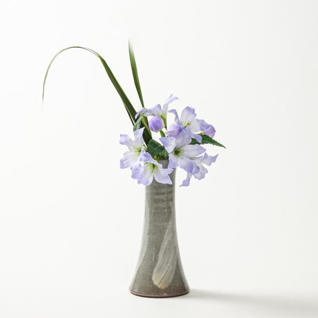 萩焼(伝統的工芸品)花入小細手刷毛青円錐形