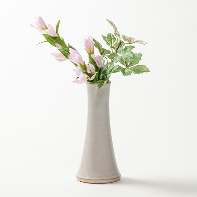 萩焼(伝統的工芸品)花入小細手白姫円錐形