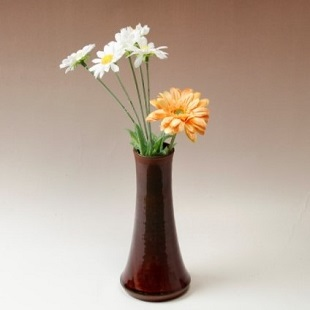 萩焼(伝統的工芸品)花入小細手鉄赤釉円錐形
