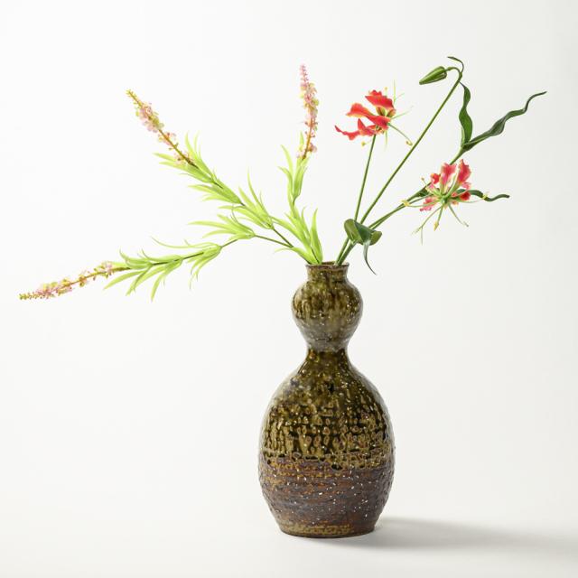 萩焼(伝統的工芸品)花入大緑釉瓢箪