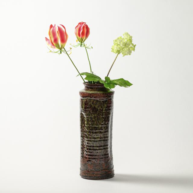 萩焼(伝統的工芸品)花入特大鉄赤釉荒肩衝三方