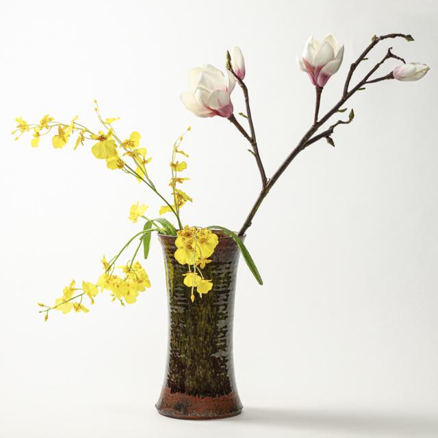 萩焼(伝統的工芸品)花入特大鉄赤釉荒端反