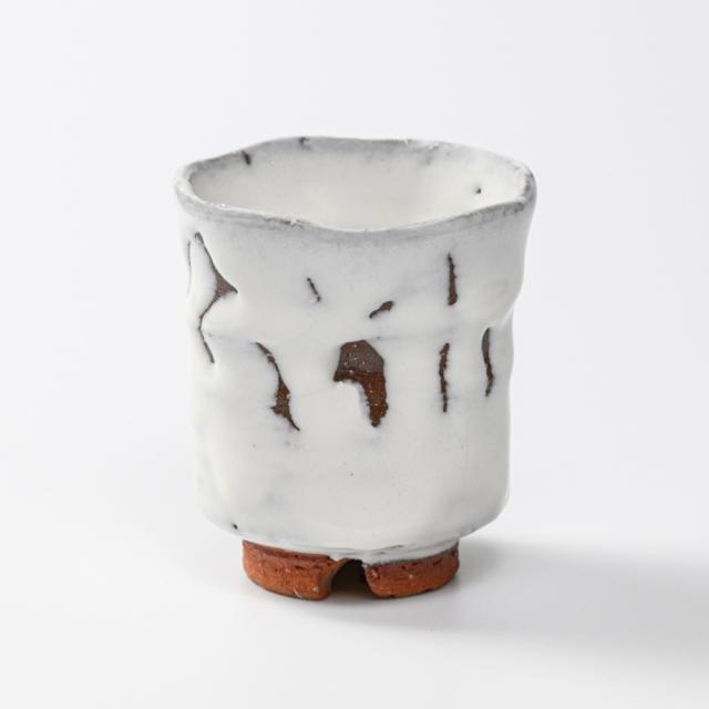 萩焼(伝統的工芸品)湯呑小鬼白竹端反えくぼNo14