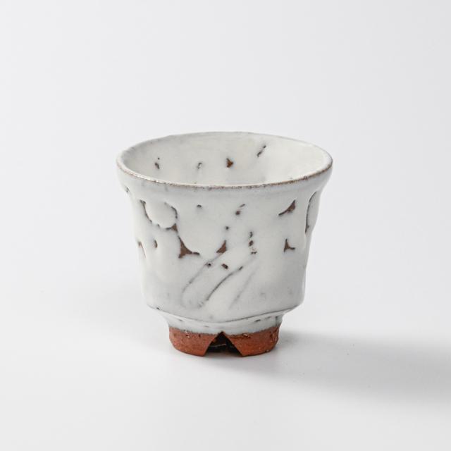 萩焼(伝統的工芸品)煎茶湯呑鬼白竹端反ヘラメNo152