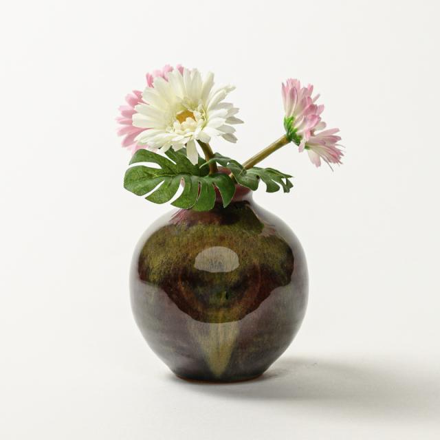 萩焼(伝統的工芸品)ミニ花入鉄赤釉丸えくぼ